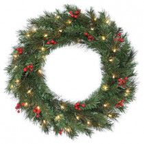 30 in. Noble Artificial Wreath with 50 Clear Lights