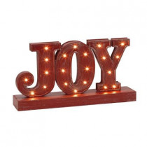 Battery Operated Rustic Red Metal LED Lighted JOY Sign
