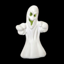 36 in. Grinning Ghost with Glowing Green Eyes