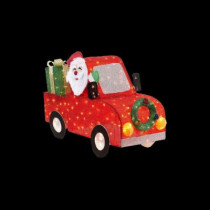 57 in. Pre-Lit Tinsel Santa in Car with Gift Boxes