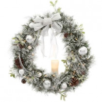 36 in. Battery Operated Snowy Silver Pine Artificial Wreath with 40 Clear LED Lights and LED Candle
