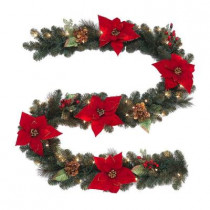 9 ft. Winterberry Artificial Garland with Red Berries and Magnolia Leaves and 50 Clear Lights
