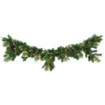 6 ft. Syracuse Cashmere Berry Artificial Mantel Garland with 70 Clear Lights