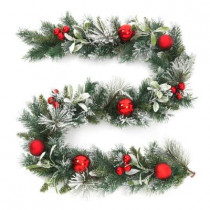 6 ft. Unlit Flocked Pine and Mistletoe Artificial Garland