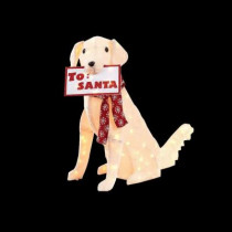 35 in. Pre-Lit Fuzzy Sitting Dog with Sign