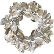 Southern Manor Collection 24 in. Platinum Magnolia Leaf Artificial Christmas Wreath