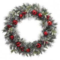 30 in. Unlit Flocked Pine and Mistletoe Artificial Wreath