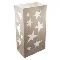 11 in. Silver Stars Luminaria Bags (Count of 24)
