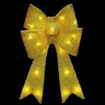 20 in. Pre-Lit Gold Fabric Bow with Battery Operated LED Lights