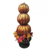 38 in. Stacked Pumpkin Topiary in Urn