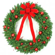 48 in. Battery Operated Mixed Fir Artificial Wreath with 200 Clear LED Lights