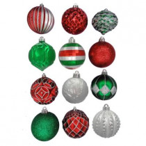 3.9 in. Red, Green, Silver Shatter-Resistant Ornament (12-Pack)