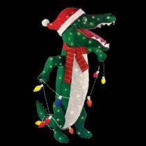 36 in. Pre-Lit Tinsel Alligator