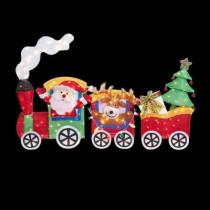 6 ft. Pre-Lit Tinsel Santa with Train Set