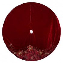 60 in. Velvet and Satin Poinsettia Christmas Tree Skirt