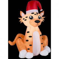 3.5 ft. H Inflatable Cheetah with Santa Hat