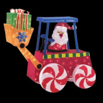 45 in. Lighted Tinsel Santa in Forklift
