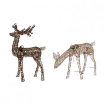 34 in. Grapevine Grazing Doe with Animation + 60 in. Grapevine Standing Deer with Animation