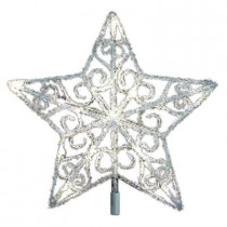 12 in. 18-Light LED Silver Acrylic Five Star Tree Topper