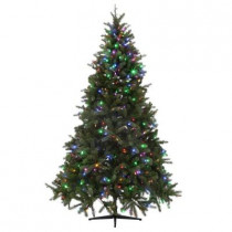 7.5 ft. Downswept Denison Pine Quick-Set Artificial Christmas Tree with 550 9-Function LED Lights and Remote Control