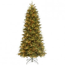 12 ft. Feel-Real Pomona Pine Slim Artificial Christmas Tree with 1050 Clear Lights