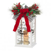 23 in. White Wooden Holiday Lantern with LED Timer Candle