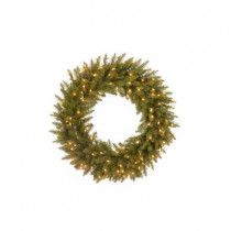 30 in. Pre-Lit Dunhill Fir Artificial Christmas Wreath with Clear Lights