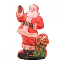 46.46 in. W x 29.53 in. D x 83.86 in. H Photorealistic Inflatable Illustrated Santa with Gift Bag