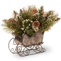 10 in. Glittery Bristle Pine Artificial Arrangement in Sleigh