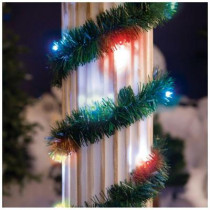18 ft. Lighted Pine Garland with Multi-Color 35-Light Micro Mini Twinkling