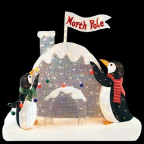 4 ft. H Pre-Lit Tinsel and Acrylic Penguins with Igloo