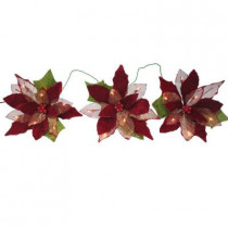 18-Light Battery Operated LED Red 3-Poinsettia Flower Garland