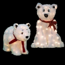 Pre-Lit Polar Bear Yard Decor (Set of 2)