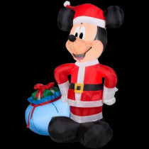 42 in. H Inflatable Santa Mickey with Blue Gift Sack