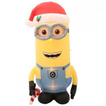 62.20 in. W x 42.13 in. D x 96.06 in. H Inflatable Minion Kevin with Candy Cane