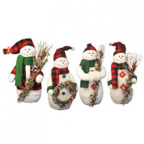 12 in. Plaid Snowmen with Christmas Twigs (Set of 4)