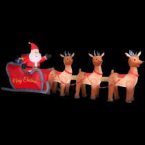 16 ft. W Inflatable Santa in Sleigh with Reindeers