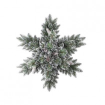32 in. Sparkling Pine Artificial Snowflakes Swag with 35 Clear Lights
