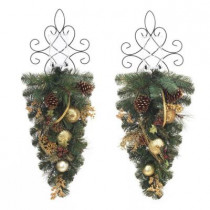 30 in. Unlit Golden Holiday Artificial Mixed Pine Swag (Set of 2)