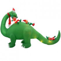 12 ft. W Inflatable Brontosaurus with Elves Scene