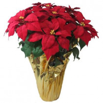 28 in. Extra Large Red Silk Poinsettia Arrangement (Pack of 2)