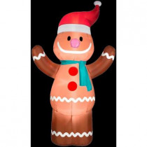 6 ft. H Inflatable Gingerbread Boy with Santa Hat