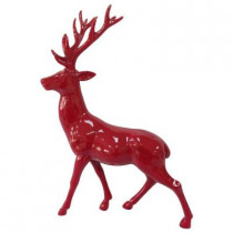 17 in. H Glazed Red Standing Reindeer