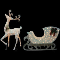 5 ft. Pre-Lit White Reindeer with Sleigh