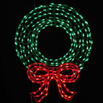 36 in. Pre-Lit LED Outdoor Wreath with Bow Sculpture and 280 C5 Twinkling Green and Red Lights