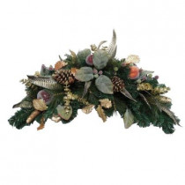 30 in. Unlit Feathers and Fruit Artificial Window Swag