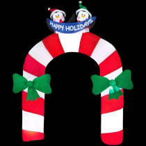 10.5 ft. H Inflatable Archway Mixed Media Candy Cane with Penguin