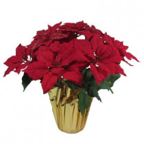 21 in. Red Glittered Silk Poinsettia Arrangement (Pack of 6)