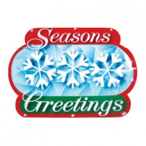 "Battery-Operated 16 in. ""Season's Greetings"" LED Light Show Sign"