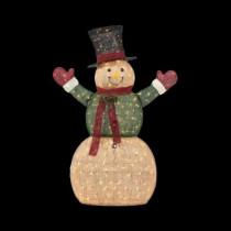5 ft. Pre-Lit Burlap Snowman in Coat and Mittens